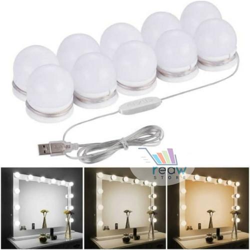 Foto Produk Set 10pcs Lampu LED Vanity Mirror Kaca Meja Rias Make Up Light String - Tiga Warna dari Reaw Store