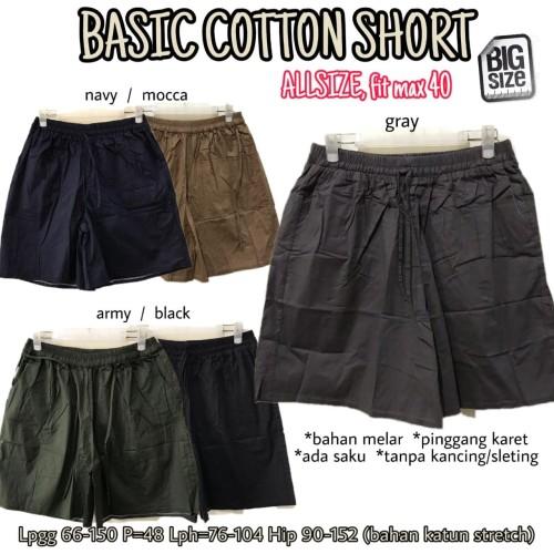 Foto Produk Basic Cotton Shorts CELANA PENDEK KATUN MELAR POLOS BASIC JUMBO 40 dari Bee Shoppe Sby