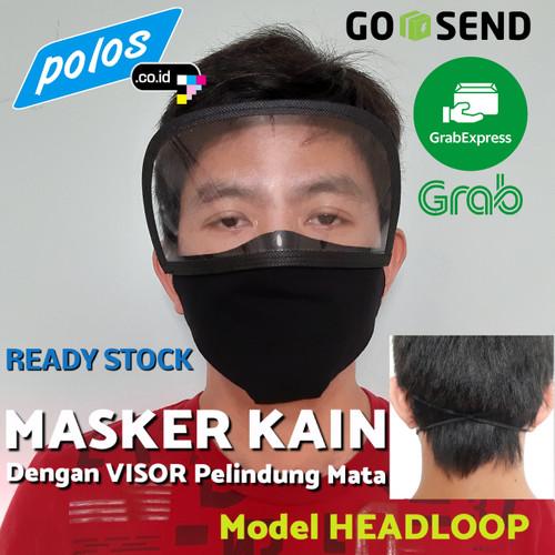 Foto Produk Masker Kain Hijab / Headloop dengan Visor Pelindung Mata - Ready Stock - Dewasa dari polos.co.id