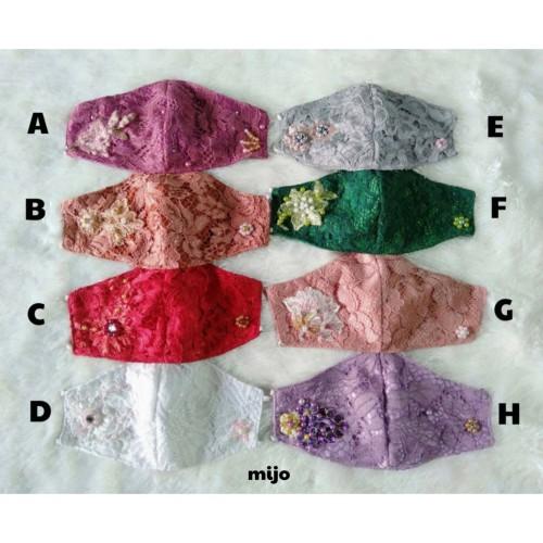 Foto Produk Masker fashion lace brokat payet cantik brocade centil isi tisu brukat dari metro global
