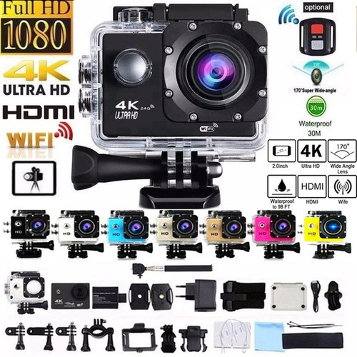 Foto Produk ORIGINAL Action Camera 4K HIGH QUALITY Outdoor Sports WIFI 30m - Hitam dari bigsaleofficial