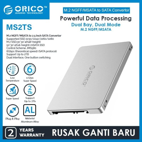 Foto Produk ORICO MS2TS-SV SSD M2 NGFF MSATA To SATA 3.0 Converter External Case dari manekistore