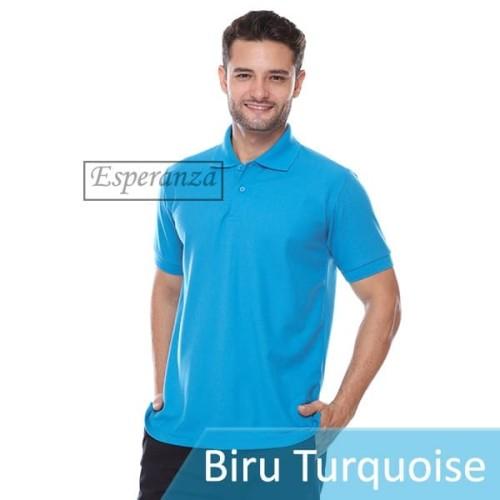 Foto Produk Kaos Polo Polos Esperanza Biru Turquoise Grosir Lacoste Pique Murah dari Toko Megaria