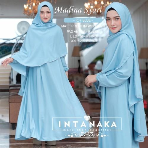 Foto Produk Pramita Fashion Muslimah Gamis Madina Syari Intanaka XXL - Ice Blue, XXL dari DEWI KECANTIKAN