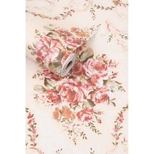 Foto Produk Bunga Pink Dasar Cream Wallpaper | 45CM x 10M dari Premier Wallpaper