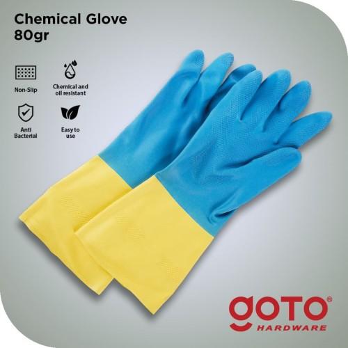 Foto Produk Sarung Tangan Latex Chemical Karet Kimia Glove 80 GR - XL dari GOTO Hardware