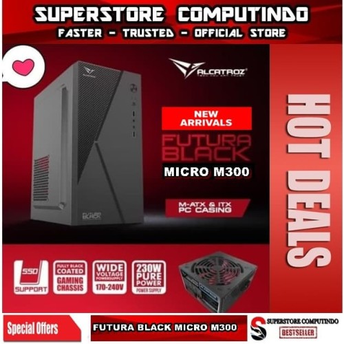 Foto Produk Alcatroz Futura Black Micro M300 With PSU 450W - Best Buy Micro Case dari SuperStore Computindo