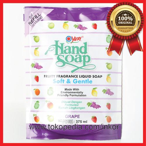 Foto Produk YURI HAND SOAP PENCUCI TANGAN GRAPE REFILL POUCH 375ML dari Inko