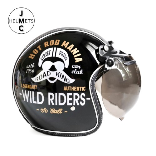 Foto Produk Helm Bogo Retro JMC Kaca Cembung Motif Wild Riders Hitam SNI - Kaca Bogo Biasa dari JMC Helmet