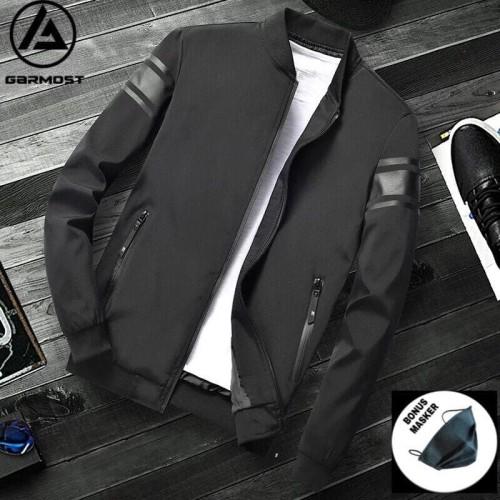 Foto Produk Jaket Bomber Pria Fashion Casual Polyester - Hitam, M dari garmostyle