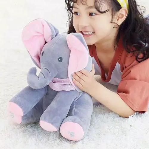 Foto Produk Boneka Gajah Peekaboo Ciluk Baa Peek a boo flappy elephant - Merah Muda dari happykidsolshop