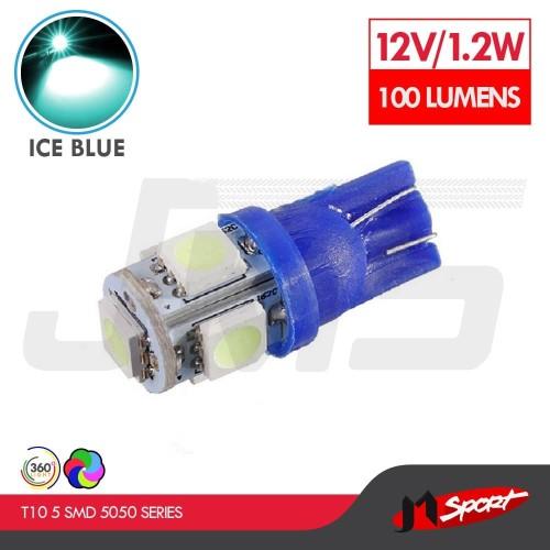 Foto Produk Lampu LED Mobil/Motor/Senja T10 W5W/Wedge Side 5 SMD 5050-Crystal Blue dari Jaya Motorsport