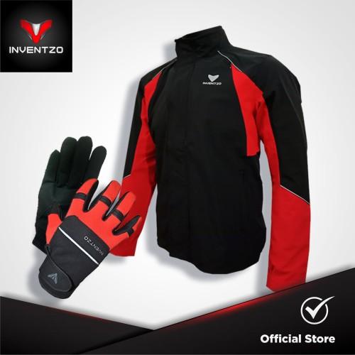 Foto Produk BUNDLING INVENTZO - Jaket Motor Pria MATTEO & FORTUNIO Glove Black-Red dari INVENTZO
