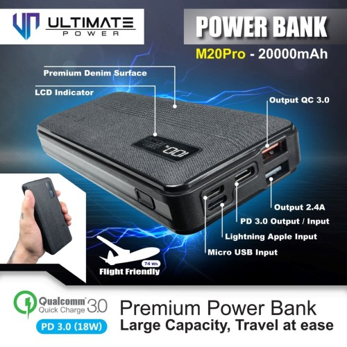 Foto Produk Ultimate Power M20 PRO QC+PD Fast Charging Powerbank 20000mAh dari Ultimate Power Official
