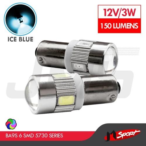 Foto Produk Lampu LED Bayonet / BA9S H6W T4W 6 SMD 5630 Alloy Housing Crystal Blue dari Jaya Motorsport