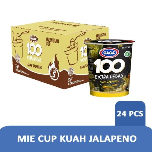 Foto Produk Mie Cup GAGA100 Extra Pedas Kuah Jalapeno 1 dus = 24 pcs Harga Grosir dari Gaga Official Store