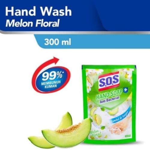 Foto Produk SOS Hand Wash Sabun Cuci Tangan Refill 300ml Antibacterial - Pink floral dari Yogieyo