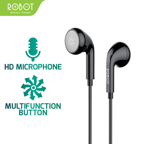 Foto Produk ROBOT Earphone/Headset Android/iPhone Garansi Resmi 1 Tahun - RE601 - Hitam dari ROBOT OFFICIAL SHOP