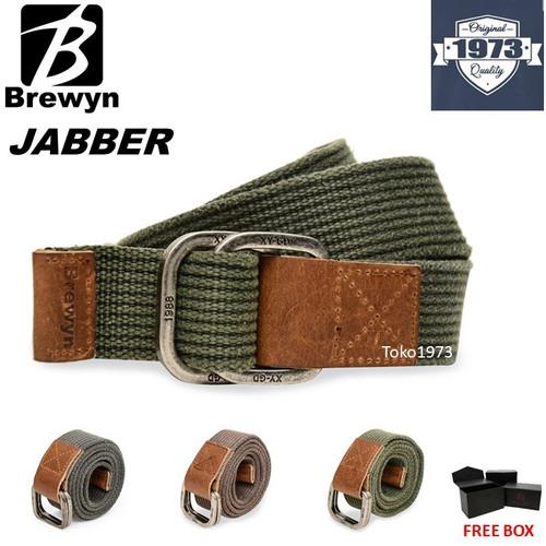 Foto Produk BREWYN Double Metal Buckle Canvas Belt/Ikat pinggang pria - JABBER - Hijau Tua dari Toko 1973