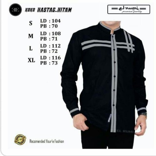 Foto Produk Baju Koko Azzahir Baju Koko Syubanul Terlaris Koko Pria Muslim Dewasa - Hitam, S dari fashion muslim RA