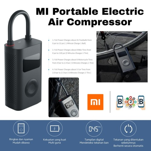 Foto Produk XIAOMI MIJIA MI Portable Electric Air Compressor - Pompa Ban Elektrik dari b2b mobile