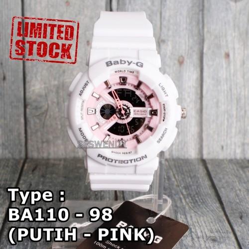 Foto Produk Jam tangan Baby-G Shock BA-110 Putih Pink wanita & anak anti air skmei dari sfswendy
