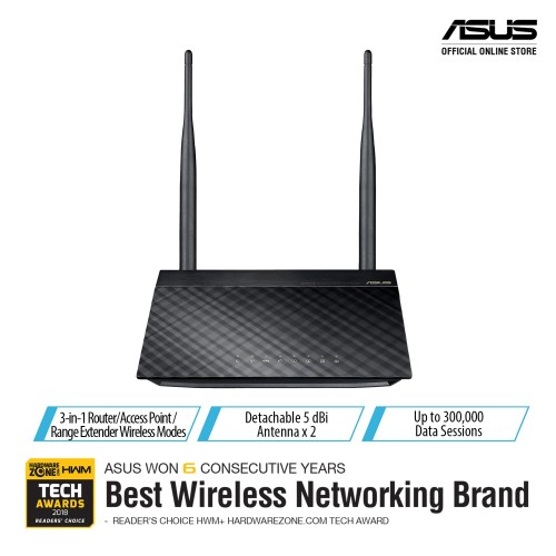 Foto Produk ASUS RT-N12+ WiFi N300 3in1 WiFi Router, Access Point, Range Extender dari Asus Component
