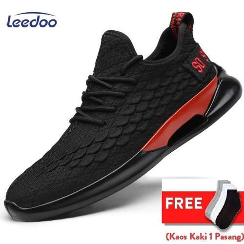 Foto Produk Leedoo Sepatu Sneaker Pria Shoes Young Lifestyle Sisik Ikan Mr101 - Hitam, 42 dari Leedoo
