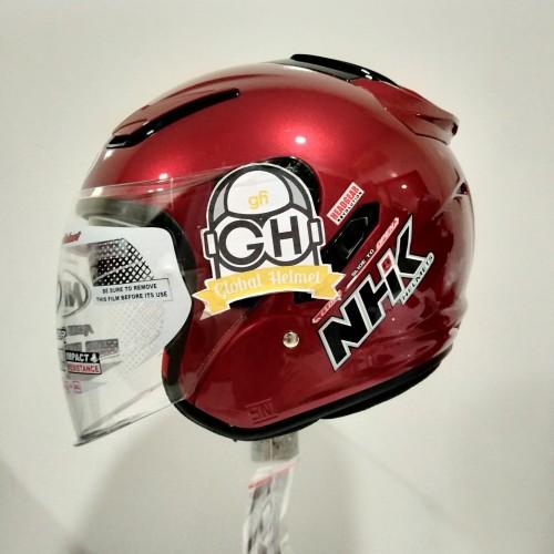 Foto Produk HELM NHK R1 RED MAROON NHK R-1 SOLID RED MAROON DOUBLE VISOR - L dari Global helmet