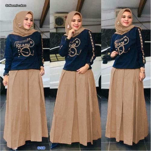 Foto Produk Baju Muslim Wanita Setelan/Setelan Pakaian Muslim-set naomi - maroon dari www.grosirdress.com
