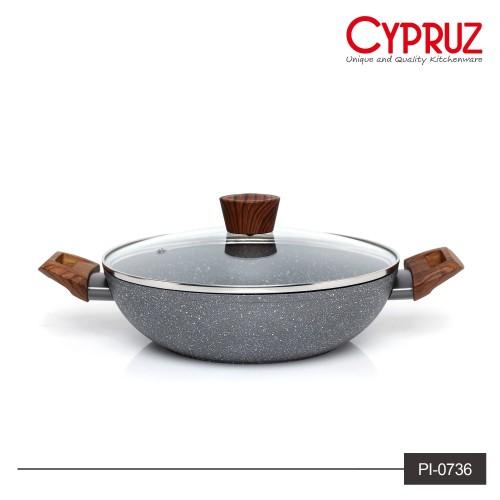 Foto Produk Cypruz Wajan Kuali Keramik Marble Tutup Kaca 26 cm   Induction Wok dari rantang online