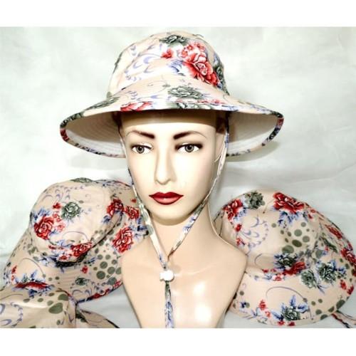 Foto Produk Bucket Hat Motif Floral Warna Dasar Krem - FL003 dari Java Harmony