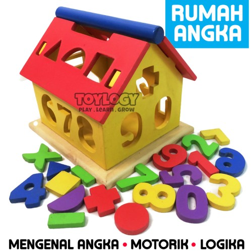 Foto Produk Mainan Edukasi Anak Rumah Angka Kayu Geometri Bentuk Warna Shape 123 dari Toylogy