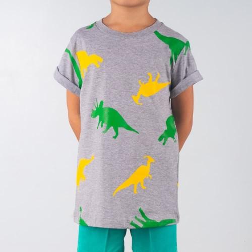 Foto Produk Moosca Kidswear The Dinos T-shirt Kaos Anak Full Print Abu - Size 2XL dari Moosca Kidswear