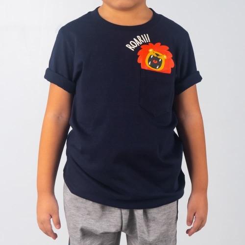 Foto Produk Moosca Kidswear Lion Pocket T-shirt Kaos Anak Kantong Navy - Size M dari Moosca Kidswear