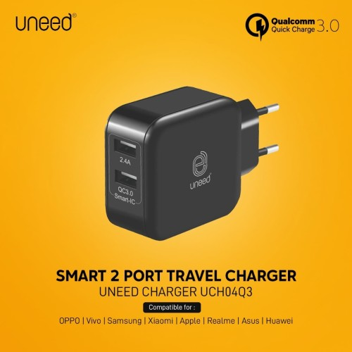 Foto Produk UNEED Dual USB Smart Wall Charger Qualcomm Quick Charge 3.0 - UCH04Q3 - Black dari Uneed Indonesia