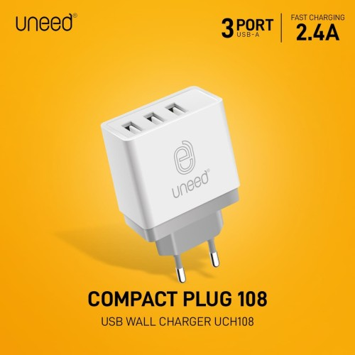 Foto Produk UNEED Wall Charger 3 Port USB Fast Charging 2.4A - UCH108 dari Uneed Indonesia
