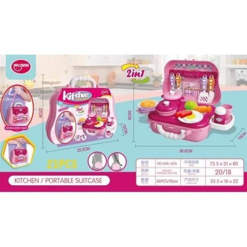 Foto Produk Mainan Alat Mainan Kitchen Portable Suitcase 2in1 21 pcs PINK 688-6 dari Toko-Ku by FAS-TOP
