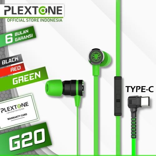 Foto Produk Plextone G20 Type C Earphone In-Ear Gaming Headset Stereo Bass alt G15 - Hijau dari Plextone Official