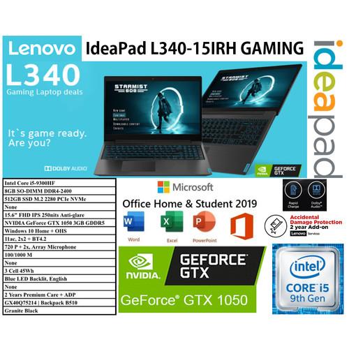 "Foto Produk LENOVO GAMING L340-15IRH I5 9300H 8GB 512 SSD GTX1050 3GB 15.6""FHD W10 dari Collins Official"