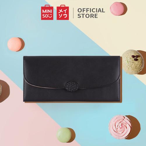 Foto Produk MINISO Dompet Wanita Panjang 3 Lipat Kecil Wallet Simple Elegant Lucu - Hitam dari Miniso Indonesia