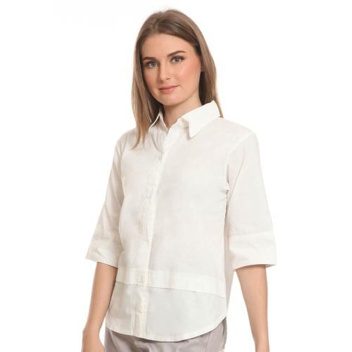 Foto Produk Basix - Janette White Shirt - Kemeja Wanita Bahan Katun Putih dari Golden Truly