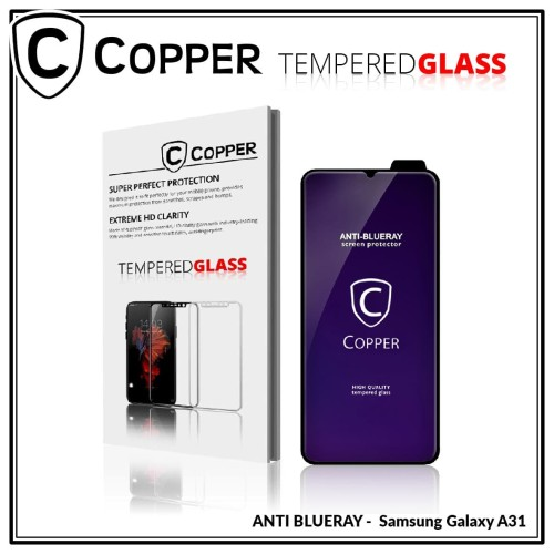 Foto Produk Samsung Galaxy A31 - COPPER Tempered Glass FULL BLUE RAY dari Copper Indonesia
