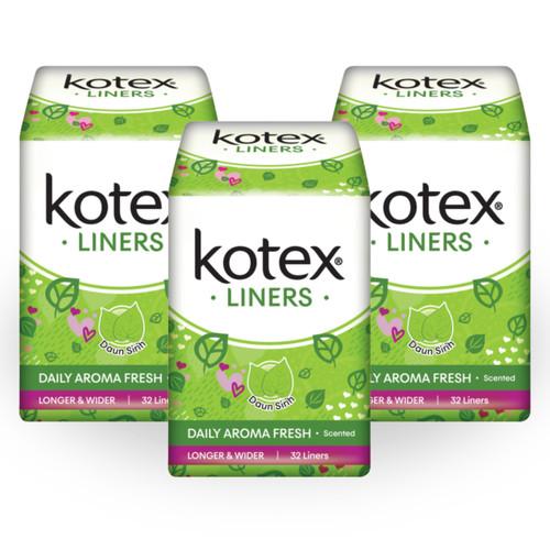 Foto Produk Kotex Liners Longer & Wider Daun Sirih 32s 3 Pack dari KOTEX HUGGIES INDONESIA