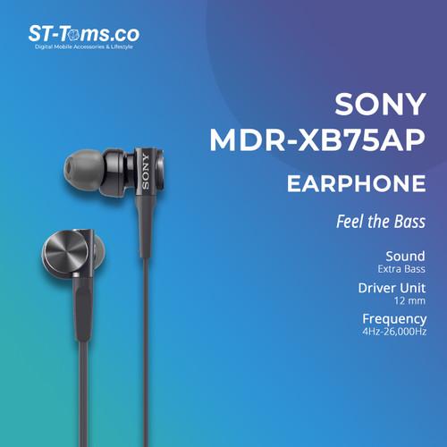 Foto Produk Sony In-Ear Extra Bass Headphone MDR-XB75AP / XB 75AP - Black - Hitam dari ST-Toms.co