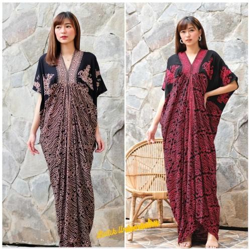 Foto Produk Long Kaftan Dress Batik Terusan Panjang Modern - Sgn Pagoda Prg - SOGAN RED dari Batik Universal