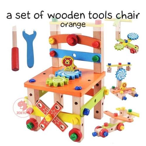 Foto Produk Zoetoys A Set Of Wooden Tools Chair | mainan edukasi | mainan anak - Orange dari ZOETOYS Official Store