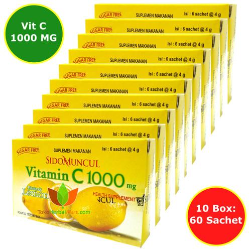 Foto Produk VITAMIN C 1000 MG SIDOMUNCUL 10 BOX (60 SACHET) UNTUK DAYA TAHAN TUBUH - LEMON dari OBAT HERBAL MART