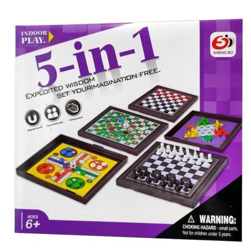Foto Produk MB195 Mainan Anak Magnetic Board Game 5in1 / Game Ludo Ular Tangga dari Mmtoys Indonesia