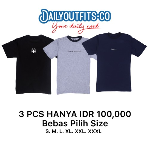 Foto Produk Dailyoutfits (Bundling 3Pcs) Kaos Katun 30S Custom Polyflex UKURAN S/M - M dari Daily Outfits DYO